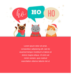 Merry christmas poster with cute cats characters vector