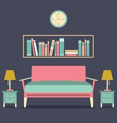 Modern Design Interior Sofa and Bookshelf vector image
