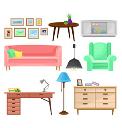modern furniture for living room set interior vector image