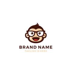 monkey chimp geek smart charm mascot character vector image