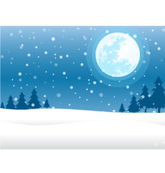 Moon and snow christmas background vector