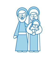 Nativity scene of joseph and mary holding baby vector