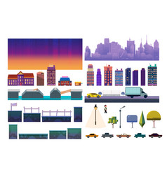 Night city game level kit collection vector