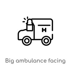 Outline big ambulance facing left icon isolated vector