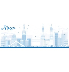 Outline Mecca Skyline with Blue Landmarks vector