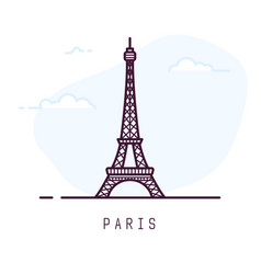 Paris eiffel tower line style vector