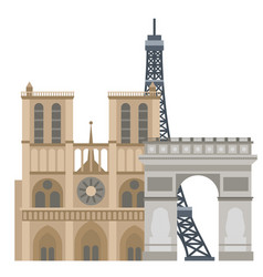 Paris icons famous travel cuisine vector