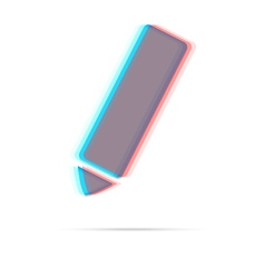 Pencil anagliph icon with shadow vector