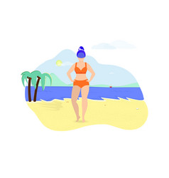 Plus size young woman posing on beach summertime vector