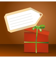 Red gift box with green ribbon and tag for vector