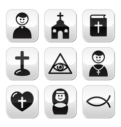 Religion catholic church buttons set vector image