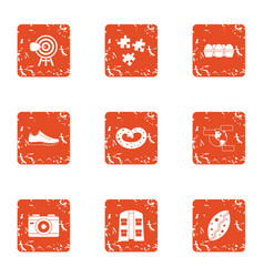 review of the food icons set grunge style vector image