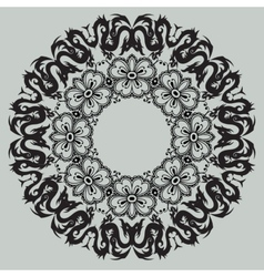 Round floral pattern on a gray background vector