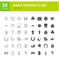 saint patricks day line web glyph icons vector image