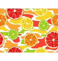 Seamless pattern with citrus fruits slices Mix of vector