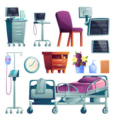 set hospital ward interior equipment isolated vector image