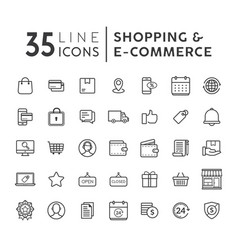 set of e-commerce modern flat thin icons vector image