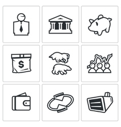Set of Exchange Icons Broker Bank Piggy vector