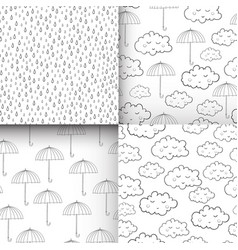 Set of seamless patterns with cute sleeping vector