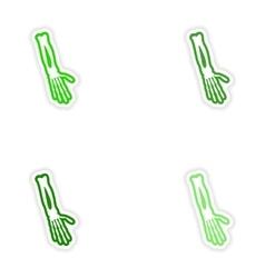 Set paper stickers on white background arm bones vector