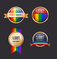 set pride month badges collection vector image