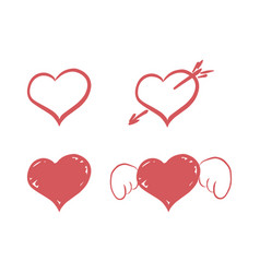 set red hearts icons - handmade vector image