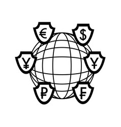Shields with symbol of crypto coins and sphere vector