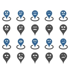 Smiled map marker icons vector image