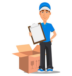 Smiling delivery man in blue uniform holding vector