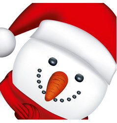Snowman face with red hat and scarf vector
