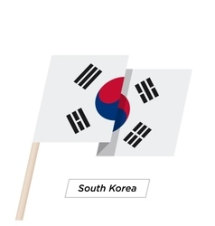 South Korea Ribbon Waving Flag Isolated on White vector image