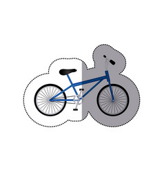 Sticker silhouette of small sport bike in white vector