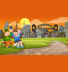 Two boys on park bench vector