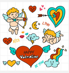valentine doodle cupid holding arrow love icon vector image