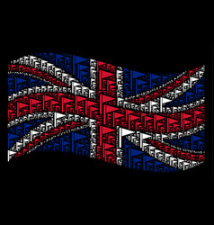 Waving great britain flag pattern of triangle flag vector