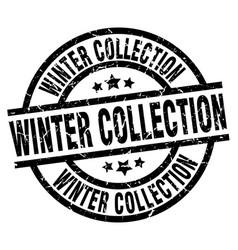 Winter collection round grunge black stamp vector