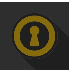 Yellow round button with black keyhole icon vector