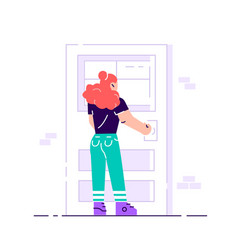 Young female character holding a door knob vector
