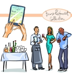 Bar and Restaurant Collection - hand drawn scenes vector image vector image