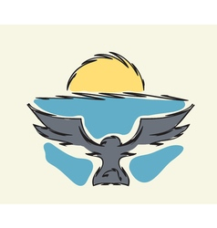 bird flying to horizon vector image