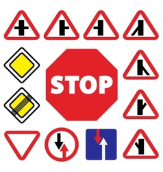 colorfull traffic auto signs vector image vector image