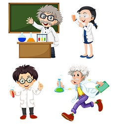 Four chemists vector image vector image