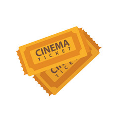 two cinema tickets emblems isolated on white vector image