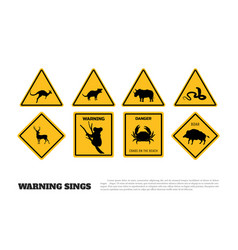 animals yellow warning signs vector image