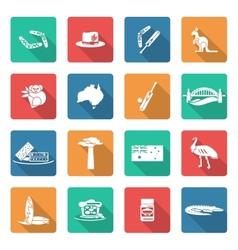 Australia icons set white vector image vector image