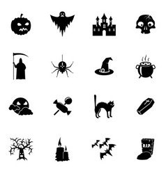Black and white Halloween icons set vector image vector image