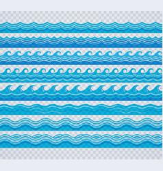 blue transparent wave patterns vector image vector image
