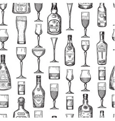 Seamless pattern with alcoholic drinking glasses vector