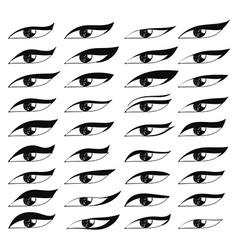 Set eyes in sketch style Painted eyes Black eye vector image vector image