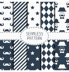 Set of hipster fashion geometric seamless pattern vector image